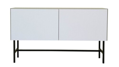 Sideboard weiß lackiert. Moderne Kommode im Mosaik / Fliesen Design.