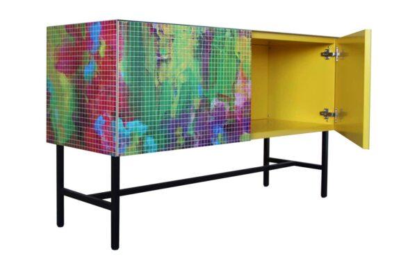 Sideboard Wonzimmer. Designer Möbel. Bedrucktes Lowboard. Kunst Kommode.