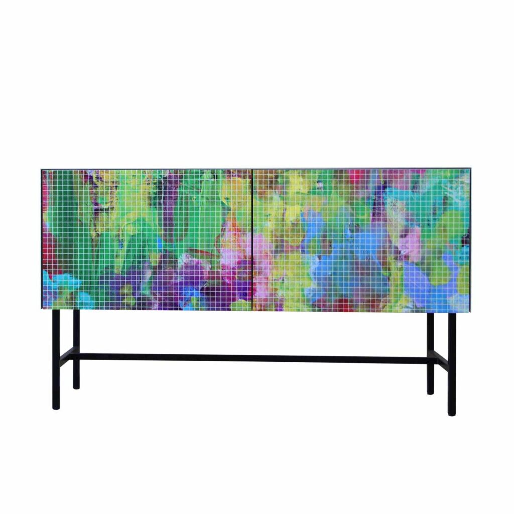 Sideboard Wohnzimmer. Moderne Bedruckt Kommode im Fliesendesign.