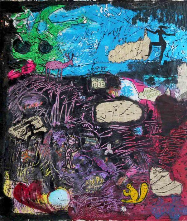 Abstraktes Acrylbild. Modernes Gemälde. Handgemaltes Wandbild.