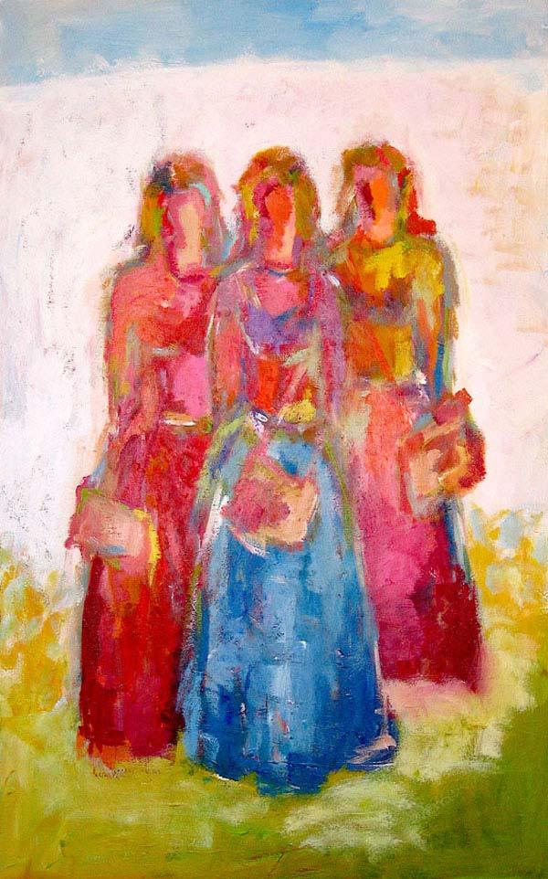 Abstraktes Kunst Bild. Modernes Leinwandbild. Acrylbild Frauen Spaziergang.