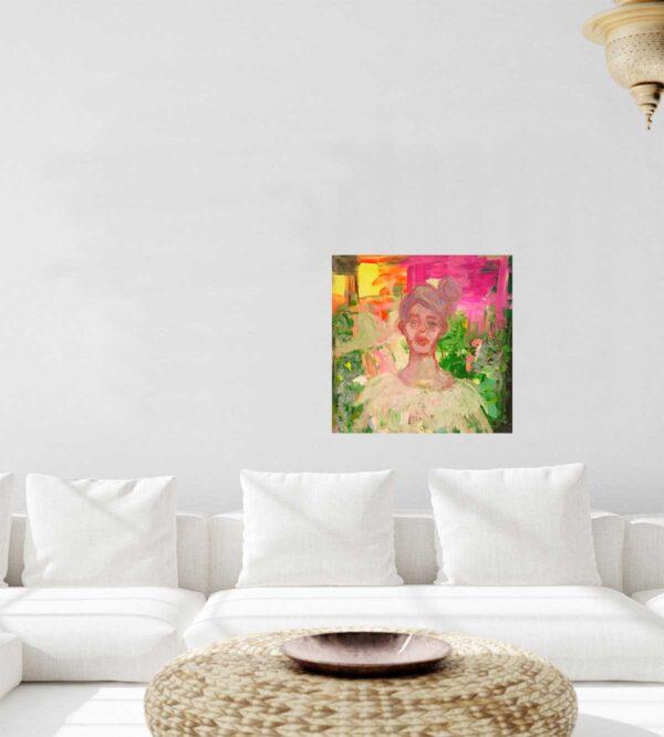 Abstraktes Portrait Gemälde. GModernes Kunst gemaltes Bild. Acrylbild mit Frau.