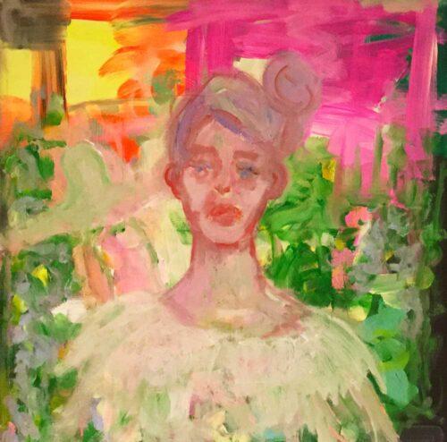 Abstraktes Portrait Bild mit Frau. Gemaltes Acrylbild. Modernes Gemälde.