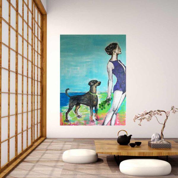 Handgemaltes Acryl Bild. Modernes Gemälde mit Hund.