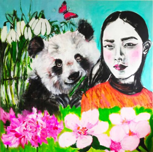 Gemaltes Acrylbild XXL. Großes Leinwandbild mit Mädchen und Panda.
