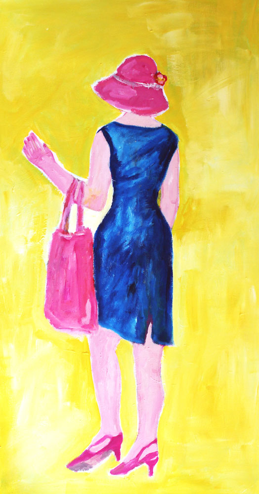 Bild Acryl. Gemaltes Leinwandbild. Gelbes Acrylbild mit Frau. Modernes Wandbild.