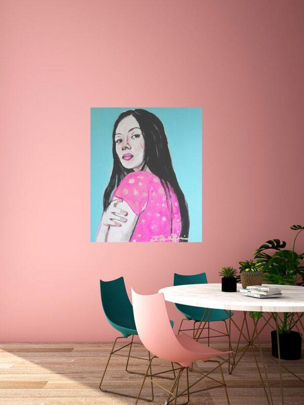 Bild blau. Gedrucktes Leinwandbild. Wandbild XXL. Modernes Frauen Porträt.