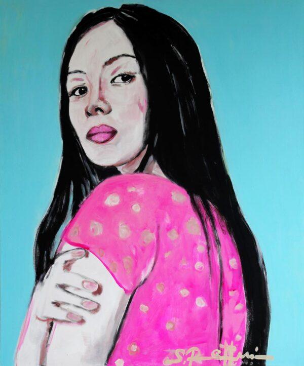 Bild blau. Kunstdruck auf Leinwand. Wandbild XXL. Modernes Frauen Porträt.