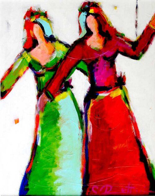Modernes Bild für Wohnzimmer.Tanzende Frauen. Gedrucktes Wandbild.