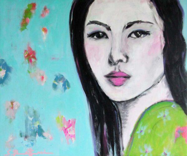 Bild fürs Schlafzimmer. Wandbild XXL mit Frau und farbigen Blumen.