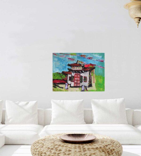 Bild gemalt. Asiatisches Gemälde mit Gebetsfahnen. Modernes Acrylbild.