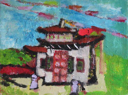 Kunst Bild gemalt. Acrylbild mit Gebetsfahnen. Wandbild mit Asien Motiv.