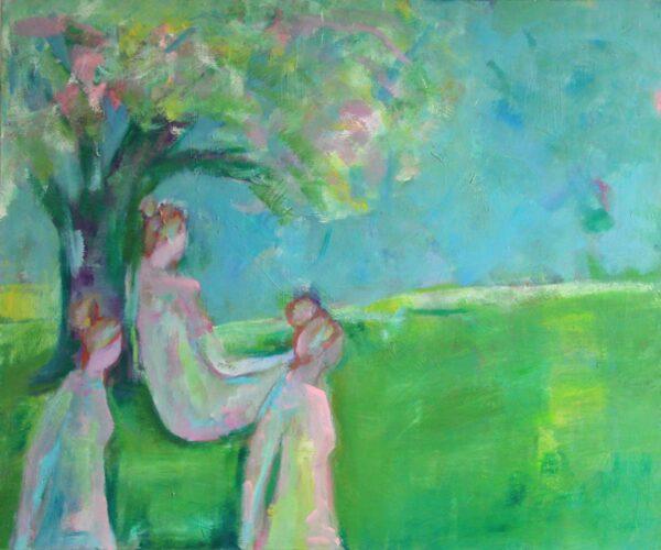 Bild grün gemalt auf Leinwand. Modernes Acrylbild mit 3 jungen Frauen.