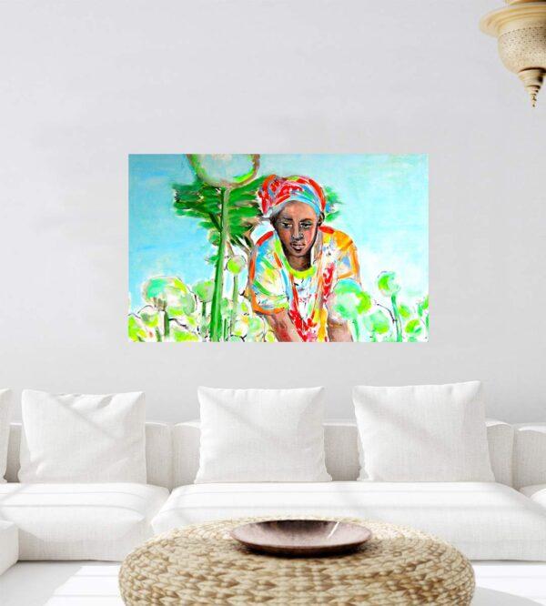 Handgemaltes Bild. Modernes Acrylbild. Afrika Gemälde. Wandbild mit Frau.