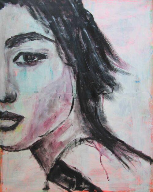 Modernes Bild Kunst. Kunstdruck von gemaltem Acrylbild. Porträt Gemälde