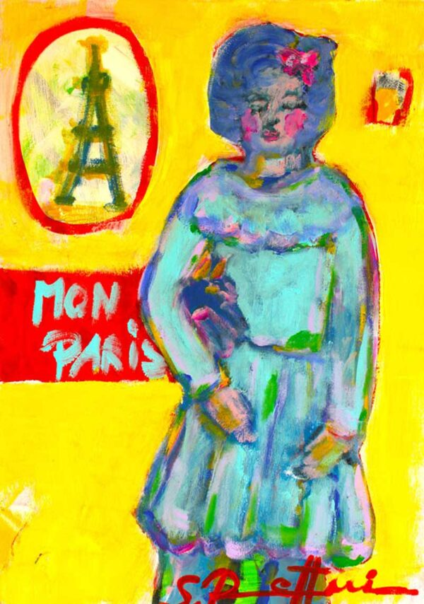 Bild Malerei. Gemaltes Leinwandbild. Wandbild Paris. Modernes Acryl Gemälde.
