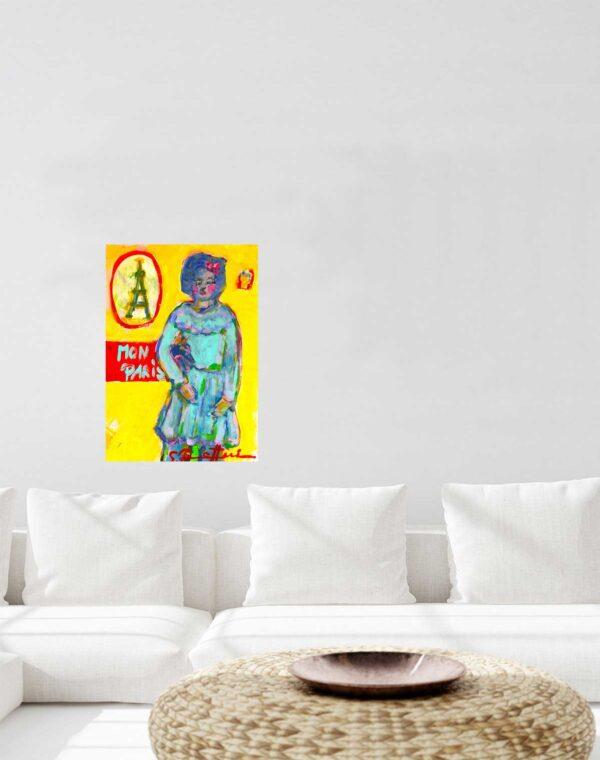 Bild Malerei. Gemälde auf Leinwand Paris. Modernes Acrylbild.