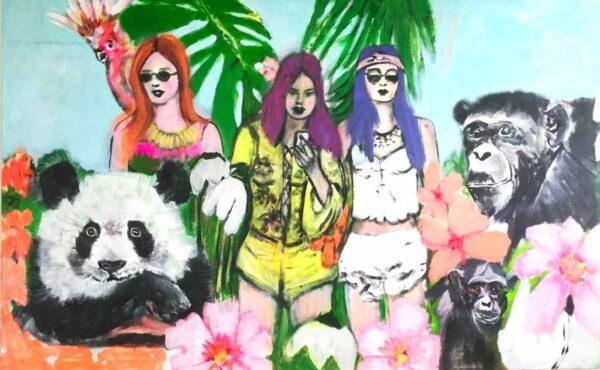 Bild moderne Kunst. Acrylbild Gemälde. Buntes Leinwandbild.