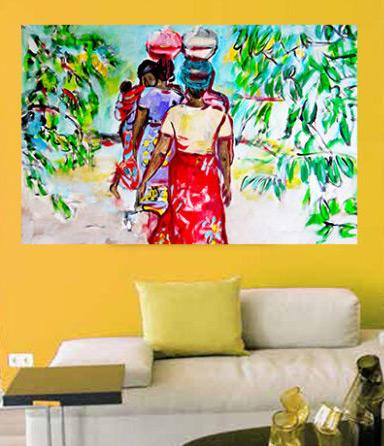 Schönes Bild fürs Wohnzimmer. Kunstdruck von gemaltem Leinwandbild. Buntes Afrika Wandbild.