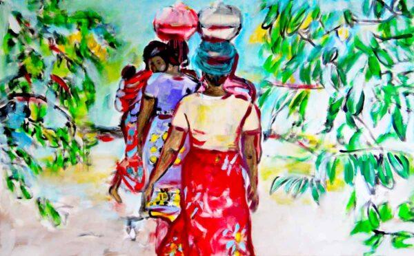 Bild Wohnzimmer. Moderner Kunstdruck von gemaltem Leinwandbild. Buntes Afrika Motiv.