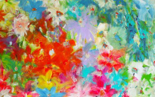 Bild Wohnzimmer modern. Kunstdruck auf Leinwand. Abstraktes Wandbild mit Blumen.