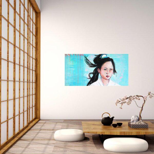 Blaues Bild. Kunstdruck auf Leinwand. Frauen Porträt.
