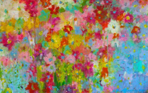 Blumen Bild. Farbenfrohes buntes Leinwandwandbild.