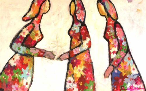 Bild Blumen. Abstraktes Wandbild mit Blumen und Blüten. Modernes Leinwandbild XXL.
