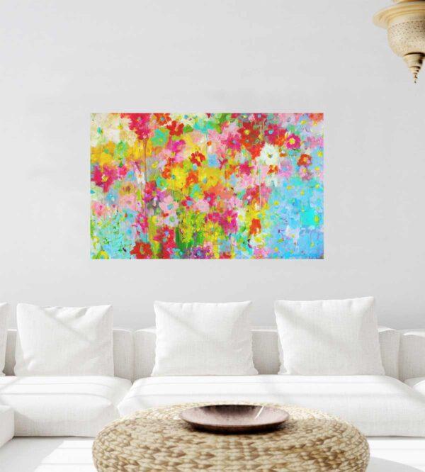 Farbiges Blumen Bild. Kunstdruck auf Leinwand.