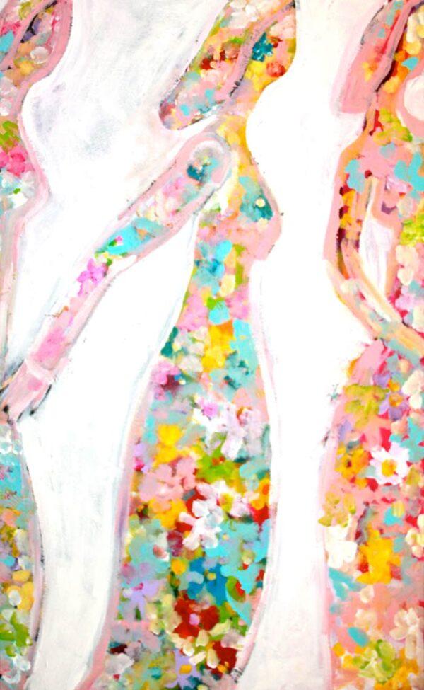 Farbiges Blumenbild. Abstraktes Wandbild XXL mit Blumen und Blüten.