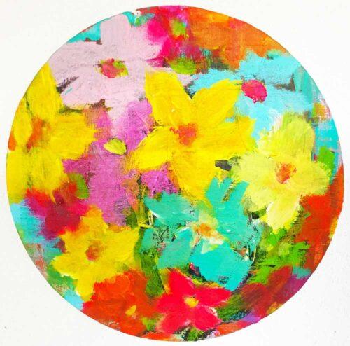 Blumenbild gemalt. Rundes Acrylbild. Gemälde mit Blumen und Blüten