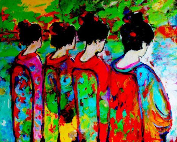 Buntes Bild. Kunstdruck. Wandbild XXL. Expressionistisches Leinwandbild.