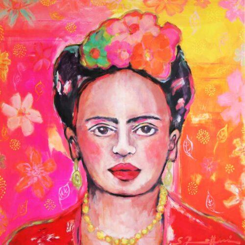 Kunstdruck von Frida Kahlo Bild Porträt. Gemalt von S. Rettenmaier.