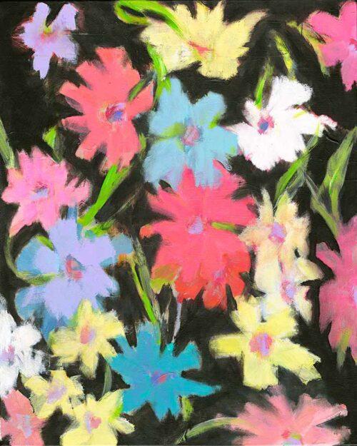 Gemälde Blumen. Gemaltes abstraktes Acrylbild. Leinwand Bild mit Blumen auf schwarz.