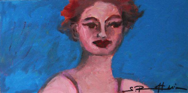Gemälde Portrait. Modernes Wandbild für Wohnzimmer. Gemaltes Leinwandbild.