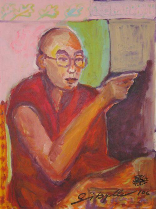 Gemaltes Bild Portrait vom Dalai Lama. Modernes Wandbild. Acrylbild.