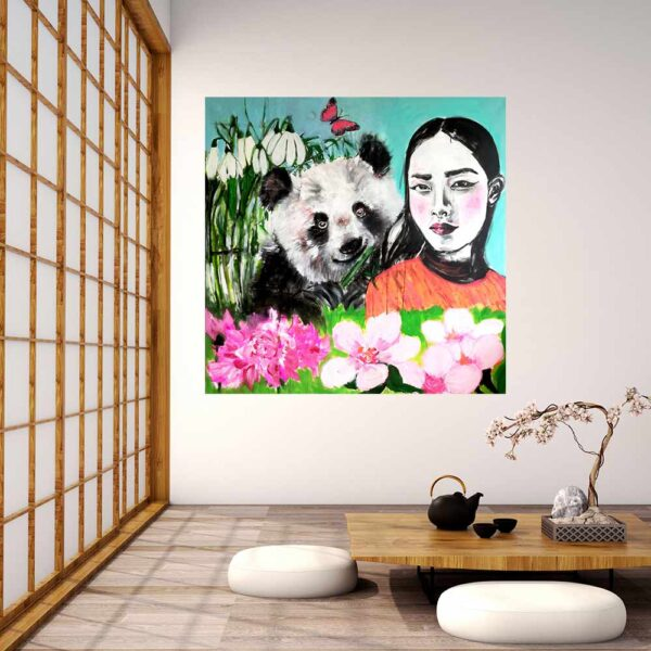 Handgemaltes Acrylbild. Leinwandbild XXL mit Mädchen, Panda, Blüten u. Blumen.
