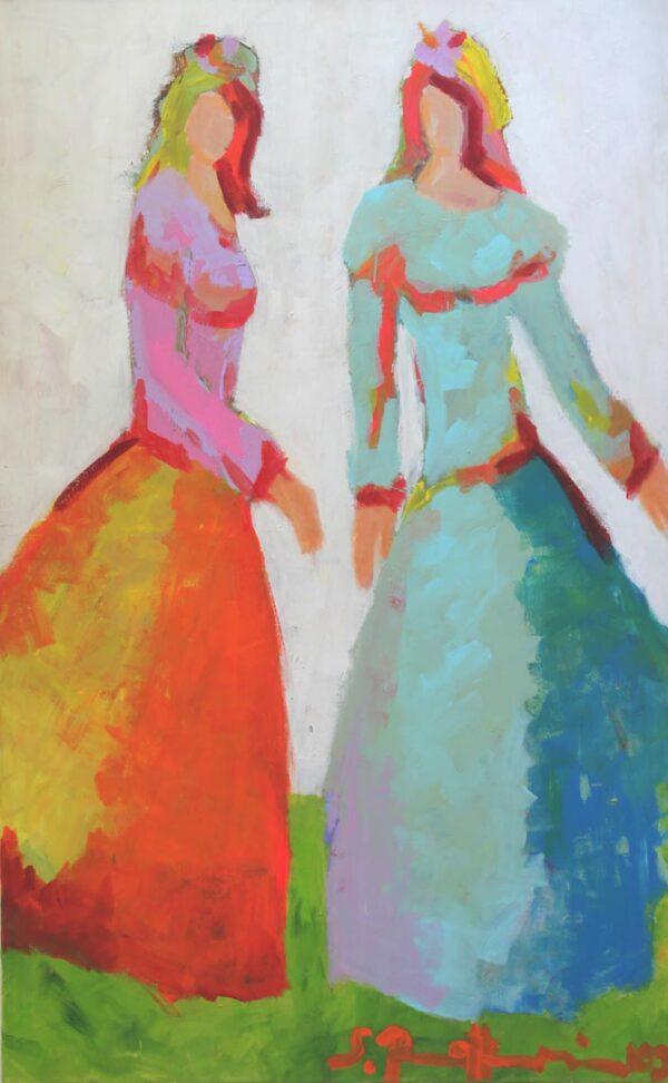 Großes Bild. Abstraktes Leinwandbild. Buntes Gemälde mit 2 Freundinnen.