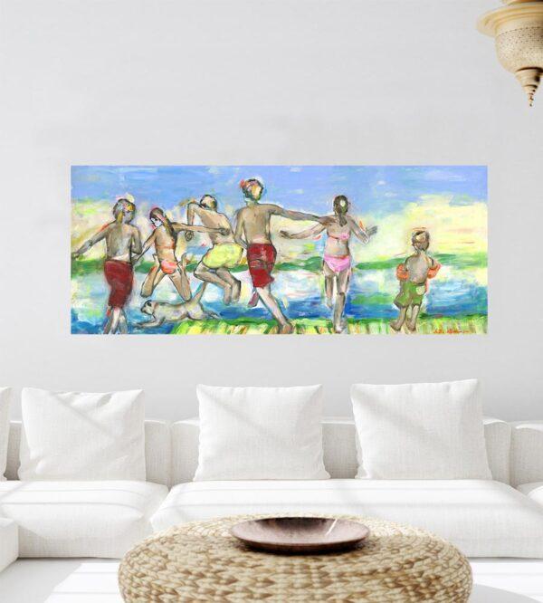 Modernes XXL Bild fürs Wohnzimmer. Sommerfrische. Gedrucktes Leinwandbild.