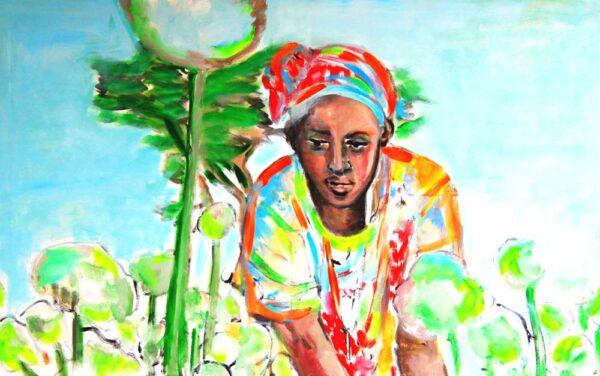Handgemaltes Bild. Acrylbild Afrika Motiv. Modernes Leinwandbild mit Frau.