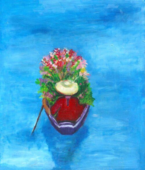 Küchenbild. Moderner Kunstdruck. Leinwandbild, Boot, Bunte Blumen. Wasser