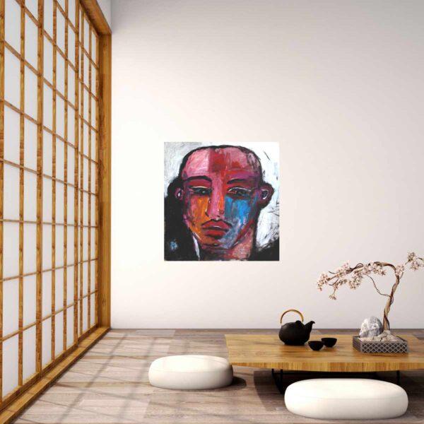 Modernes Künstler Bild mit expressionistischen Zügen. Portrait Gemälde.
