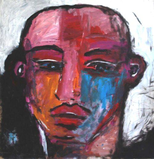 Expressionistisches Künstler Bild. Modernes Gemälde. Gemaltes Acrylbild Portrait.