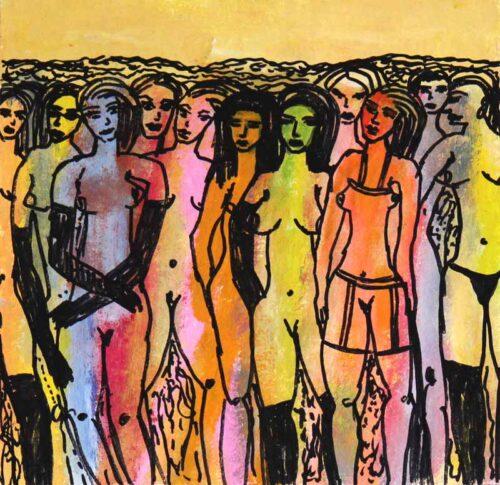 Künstlerisches Bild.Gemaltes Wandbild. Acrylbild moderner Frauenakt.