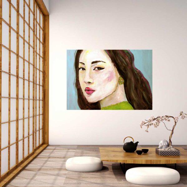 Modernes aKunstbild. Modernes Gemälde. Gemaltes Frauenporträt Bild. Acrylbild.. Gemaltes Frauenporträt Bild. Modernes Acrylbild