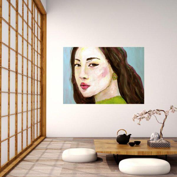 Modernes Leinwand Bild. Kunstdruck. Gedrucktes Wandbild. Frauen Portrait.