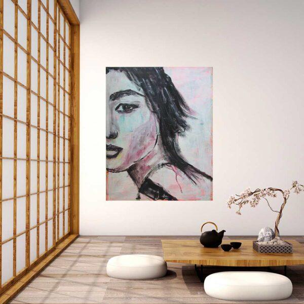 Zeitgenössische Bild Kunst modern. Gedruckte Kunstkopie von Gemälde. Wandbild Porträt.