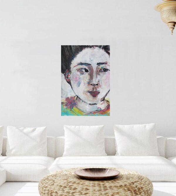 Kunst Gemälde. Modernes Wandbild. Gemaltes Acrylbild. Portrait Bild.