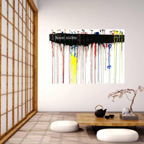 Leinwandbild modern mit farbigen Linien. Abstrakter Kunstdruck. Großes Wandbild XXL.