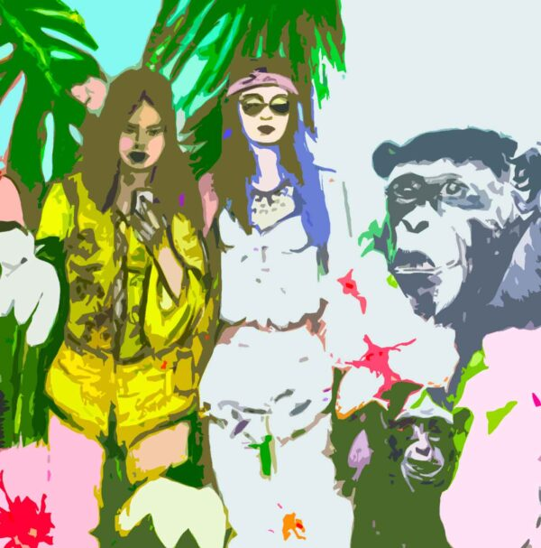 Modernes Wohnzimmer Bild. Kunstdruck. Leinwandbild mit Coachella Hippie Mädchen.